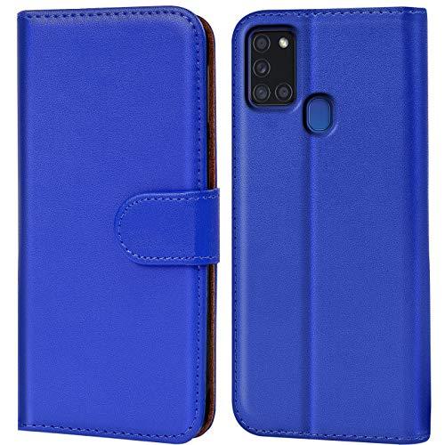 CoolGadget Klapphülle kompatibel mit Samsung Galaxy A21s Tasche, 360 Grad R&umschutz Robustes Etui aus Kunstleder, Galaxy A21s Schutz Hülle - Blau