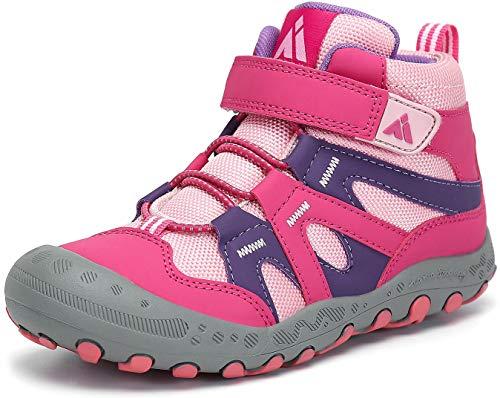 Mishansha Botas de Senderismo para Niña Zapatos de Trekking Antideslizante Ligero Zapatillas de Montaña Cómodos Exterior, Rosa, 34 EU