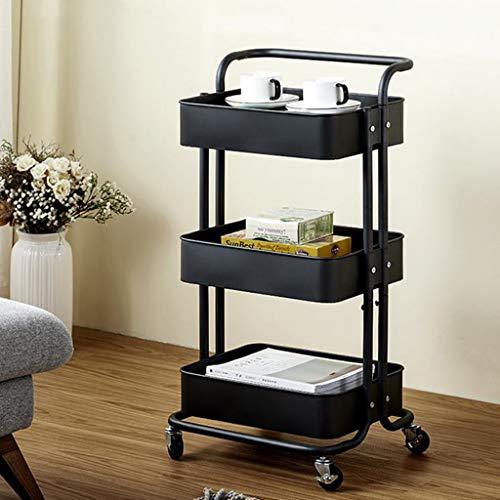 PLHMS 3-dieren-metaal Utility Service trolley, gereedschapswagen met wielen, multifunctionele organizer, voor kantoor, thuis, keuken, badkamer