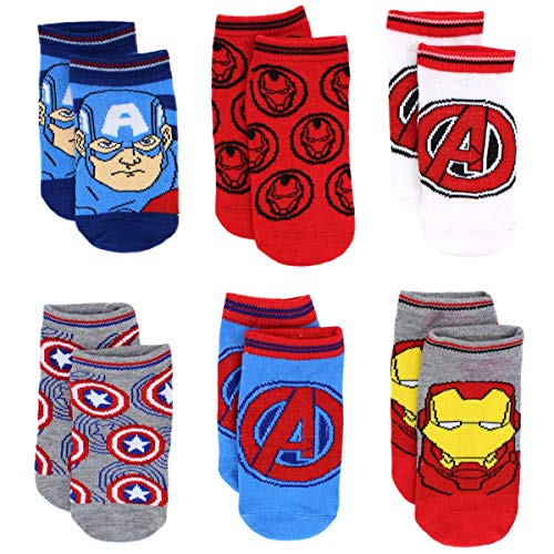 Avengers Boys 6 pack Socks (6-8 Boys, Assemble Blue/Red)