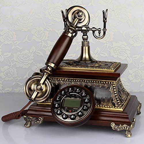 EASYTAO TeléFono Fijo Vintage Antiguo,Decoracion Casa Vintage,TeléFono de Escritorio para Oficina en Casa,Puede Volver a Marcar y Rotar Diales,con Campana de Metal CláSica,par(Color:Dial de Botones) 🔥