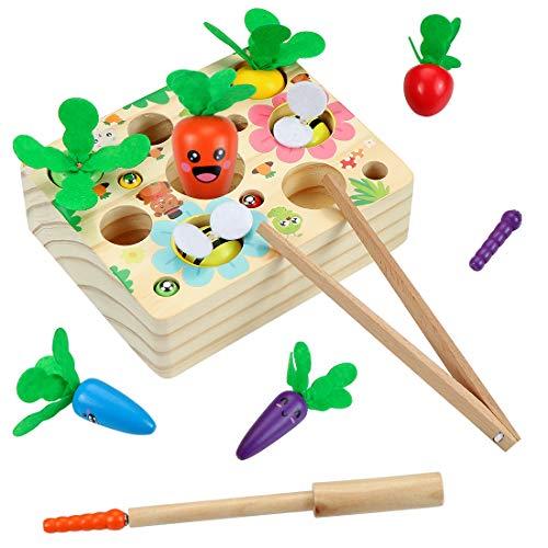 O-Kinee Karottenspiel Montessori, Holzspielzeug ab 1Jahr, Karotte Spielzeug, Fische Angeln Spiel Holzspielzeug Geschenk, Baby Motorik Spielzeug für Jungen und Mädchen, Kindergeschenke