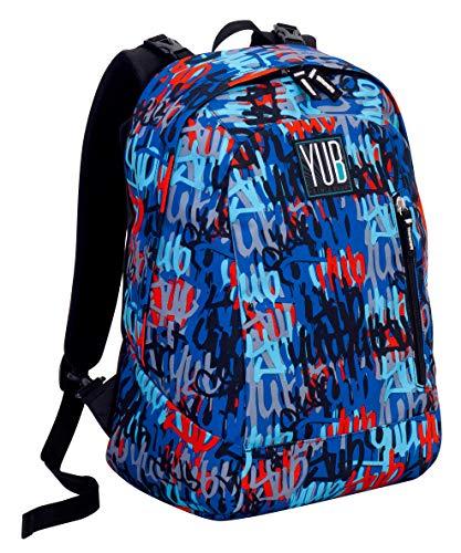 Zaino Reversibile YUB Graffiti, Blu, 2in1, 26 Lt, Double-face, Scuola & Tempo libero