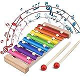 Jooheli Xylophon für Kinder, Musikspielzeug Schlagzeug Schlagwerk, Spielzeug Xylophon mit Holzschlägeln, Holzspielzeug Musikinstrument für Kinder Pädagogische Entwicklung Spielzeug Geschenke