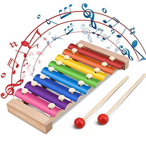 Xylophon für Kinder,Jooheli Musikspielzeug Schlagzeug Schlagwerk, Spielzeug Xylophon mit Holzschlägeln, Holzspielzeug Musikinstrument für Kinder Pädagogische Entwicklung Spielzeug Geschenke 23.5x12cm