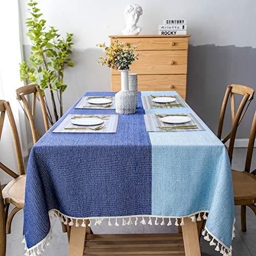 Mantel Tela Antimanchas Rectangular 140x200 ( + 4pcs Mantel Individual PVC ) Azul Mantel Elegante Algodon Lino con Borlas Tablecloth Linen Rectangle para Mesa de Comedor