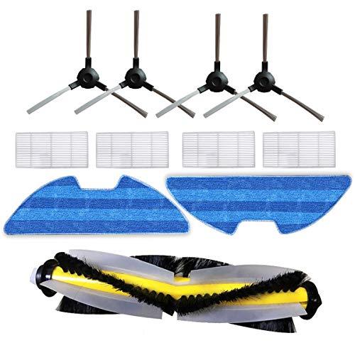 TeKeHom 1 brosse principale, 2 tampons en tissu, 4 filtres Hepa et 4 brosses latérales de remplacement pour Proscenic 811GB 911SE accessoires vSLAM-811GB vSLAM-911SE