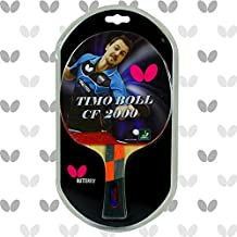 Butterfly Timo Boll Carbon Fiber Ping Pong Paddle | ITTF Approved Table Tennis Racket | Ping Pong Sponge and Rubber | Carbon Layers in Ping Pong Racket for Power | Professional Ping Pong Paddle, 2000 Model