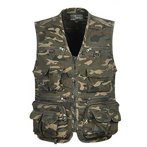 Generic Veste de Camouflage Multi Poches Veste Gilet Homme pour Chasse Pêche Photographie - Camouflage, XXXL
