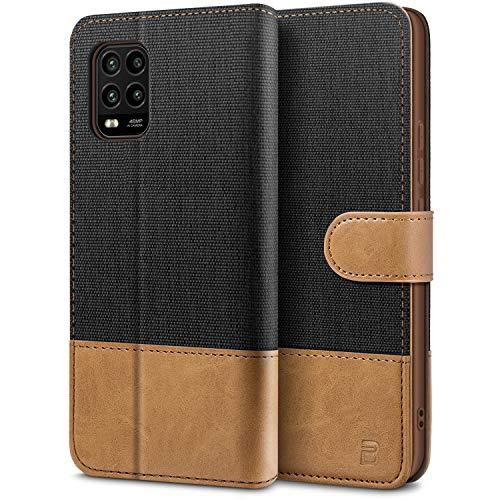 BEZ Handyhülle für Xiaomi Mi 10 Lite Hülle, Tasche Kompatibel für Xiaomi Mi 10 Lite 5G, Schutzhüllen aus Klappetui mit Kreditkartenhaltern, Ständer, Magnetverschluss, Schwarz