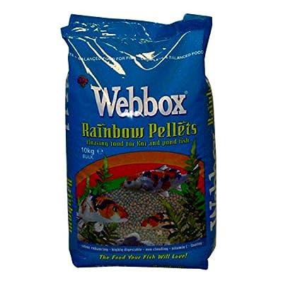 Webbox RAINBOW PELLETS FISH FOOD 10KG- FOR ALL FISH TYPES - KOI CARP ORNAMENTAL (1X) from LEEWAY WOODWORK
