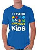 Awkward Styles Men's Autism Awareness Puzzle Graphic T Shirt Tops I Teach Awesome Kids Blue M