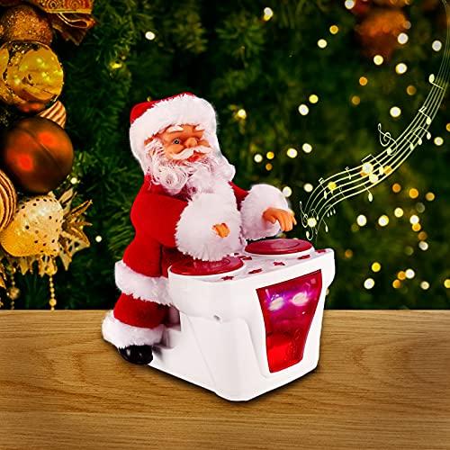 Bestcool Juguete de Santa eléctrica Adorno navideño de Juguete de Papá Noel batería eléctrica decoración navideña con 3 Ruedas Juguetes navideños Que Bailan Brillantes música