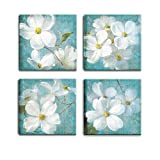 Artsbay 4 Pieces Flower Wall Art Decor White Blossoming Floral in Background Pictures Painting Artwork Printed Modern Home Canvas Art Decor Stretched and Framed for Living Room Bathroom Ready to Hang