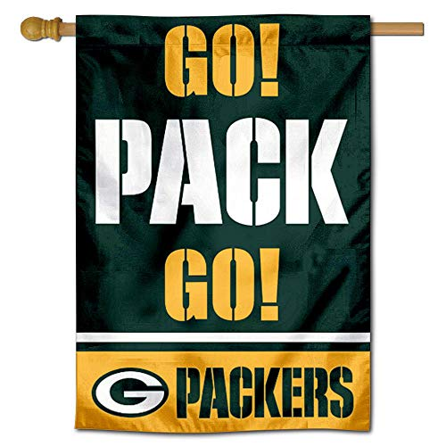WinCraft Green Bay Packers Go Pack Go Double Sided House Banner Flag