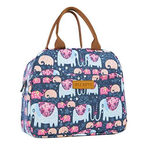 Insulated Lunch Bags for Women Cooler Tote Bag with Front Pocket Lunch Box Reusable Lunch Bag for Men Adults Girls Work Hiking Picnic - Elephant