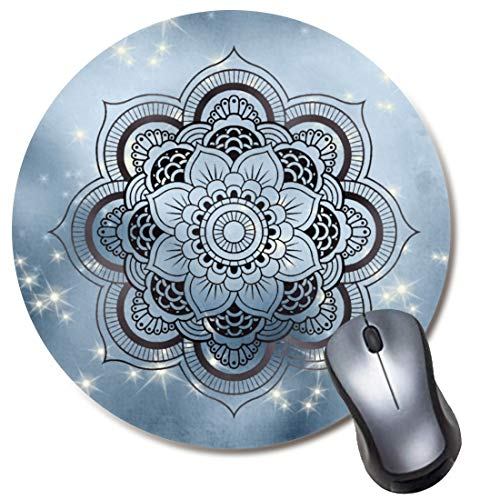 Round Gaming Mouse Pad Mandala Glitter Starry Night Mousepad for Computer,Funny Gift Non-Slip Mouse Mat
