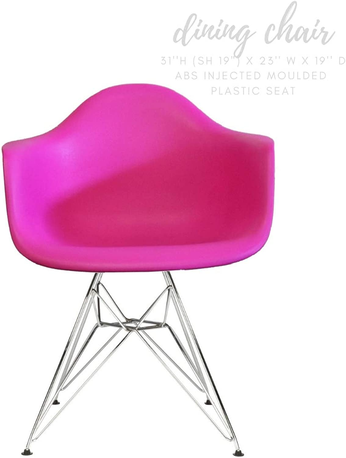 Take Me Home Furniture Eiffel Style Bucket Chair with Chrome Legs, hot Pink, Dining Chair
