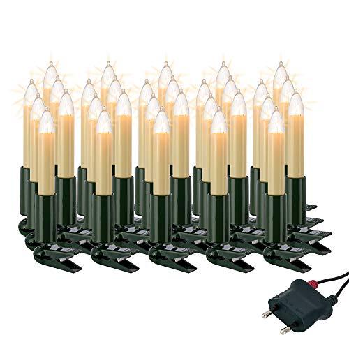 Hellum Lichterkette innen / 30 Glühfaden warm-weiß Schaftkerzen/Länge 20,3 m + 2x1,5 m Zuleitung, schwarzes Gummi-Kabel/Fassungsabstand 70 cm/teilbarer Stecker/Weihnachten / 803006