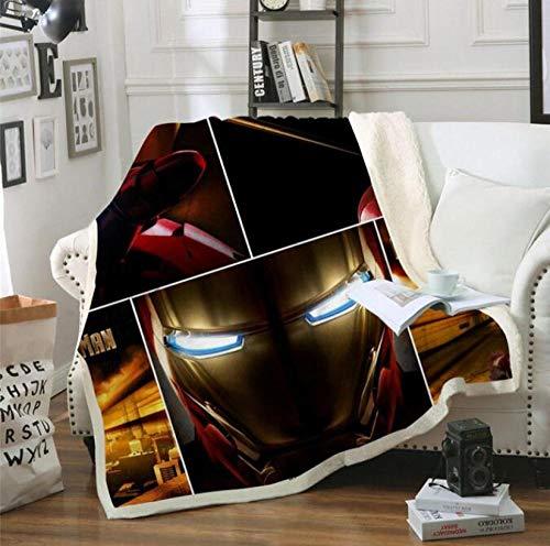 Tagesdecken,Avengers Samt Plüsch Werfen Marvel 3D Print Iron Man Decke Tagesdecke Jugend Sofa Bettbezug Reise Bettwäsche Größe A (130X150 cm)
