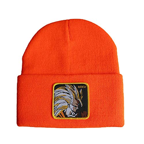 Unbekannt Coco&R Anime Winter Hüte Dragon Ball Z Stickerei Schädel Mützen Hut Hip Hop Strickmütze(H02 Orange)