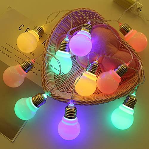 XKMY Guirnalda de luces LED para jardín, 10 ledes, para jardín, gran bombilla, luces navideñas, guirnalda de Año Nuevo, para exteriores, impermeable, decoración de fiestas (color emisor: multicolor)