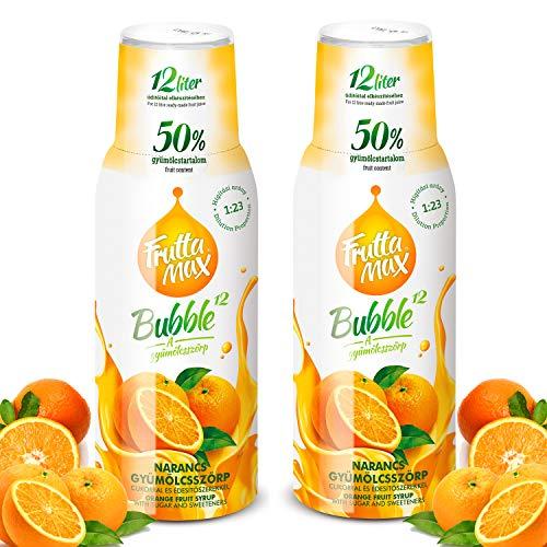 Frutta Max Getränkesirup Frucht-sirup Konzentrat   Orange Geschmack   weniger Zucker   mit 50% Fruchtanteil   für Soda Maschine geeignet 2erPack(2x500ml)