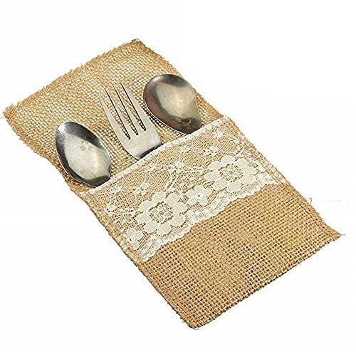 WallyE Burlap Silverware Holders, Cutlery Pouch for Rustic Wedding, Bridal Shower Tableware Bags Favor, 10 Pack