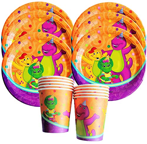 COMBO #1 12PC COMBO + 6PC CUPS + 6PC PLATES BARNEY AND FRIENDS THE PURPLE DINOSAUR PARTY SUPPLIES DECORATION THEME BIRTHDAY