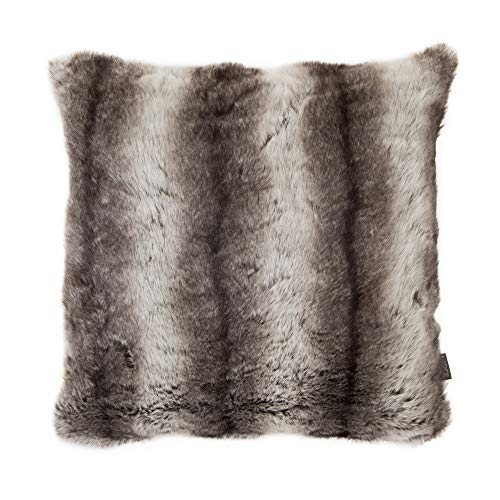 icon Soft Faux Fur Cushion - 43cm x 43cm - Furry Decorative Scatter Cushions for Living Room Sofa or Bedroom Pillow (Bavarian Wolf, 1)