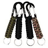 REHTAEL [4-Pack Professional Paracord Keychain with Carabiner, Military Braided Paracord Lanyard for Survival, Keys, Knife, Outdoor Camping (4Pack; 1green+2black+1camo)