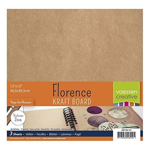 Vaessen creative hojas de aglomerado para manualidades florence 2mm, conjunto de 3 hojas cuadradas, 30,5 x 30,5 cm, para scrapbook, cubiertas de diarios, álbumes de fotos, decoraciones de boda y más