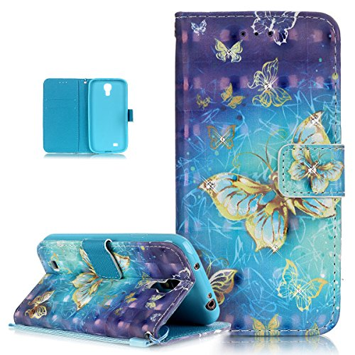 Kompatibel mit Galaxy S4 Hülle Lederhülle,Glänzend Glitzer Strass Diamant Bunte Malerei PU Lederhülle Handyhülle Tasche Flip Wallet Ständer Schutzhülle für Galaxy S4,Blau Gelb Schmetterlings
