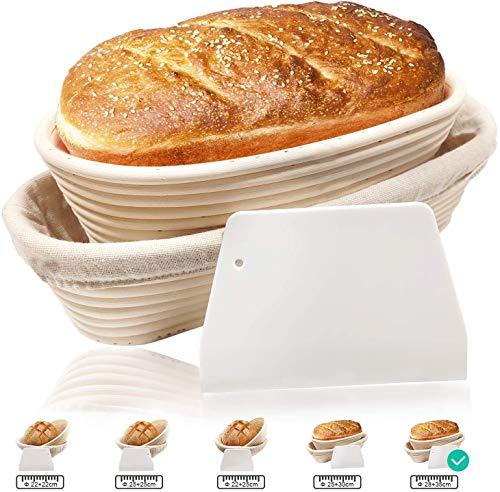 Ovale Gärkörbe, Gärkörbe, Sauerteig, Teigkorb, aus natürlichem Rattan, für professionelle Bäcker, mit Stoffauskleidung, Teigschaber, 2 Stück