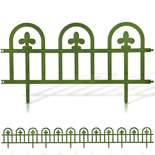 EVELYN LIVING Set of 4 Plastic Garden Border Fence Edging Panels Strong Interlocking Design Plant Picket Fencing for Flowers Weatherproof BPA Free (Sage Green)