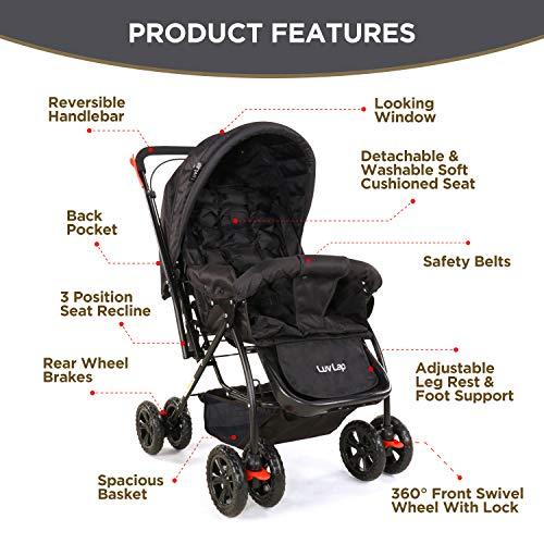 LuvLap Starshine Stroller/Pram, Easy Fold for Newborn Baby/Kids, 0-3 Years (Black) 2