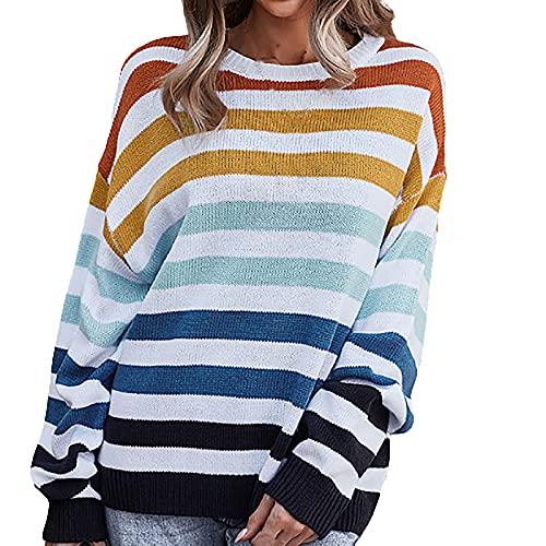 AMhomely Tops de manga larga para mujer, túnicas para el Reino Unido, blusas para mujer, suéter de moda con estampado de rayas y cuello redondo, blusa de primavera, sudadera vintage, naranja, XL