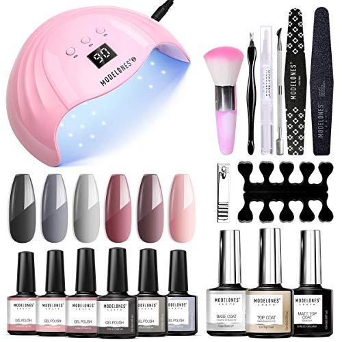 Modelones Gel Nail Kits with UV Lamp 48W LED Light 6 Colors Pink Gray Gel Nail Polish Set, Soak Off...