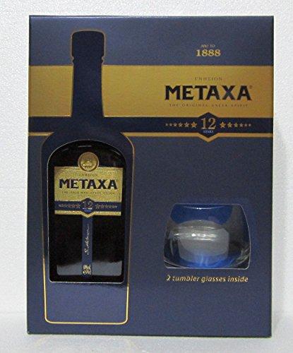 Metaxa Zwölf Sterne Weinbrand in GP mit zwei Gläsern 40% 0,7l Flasche