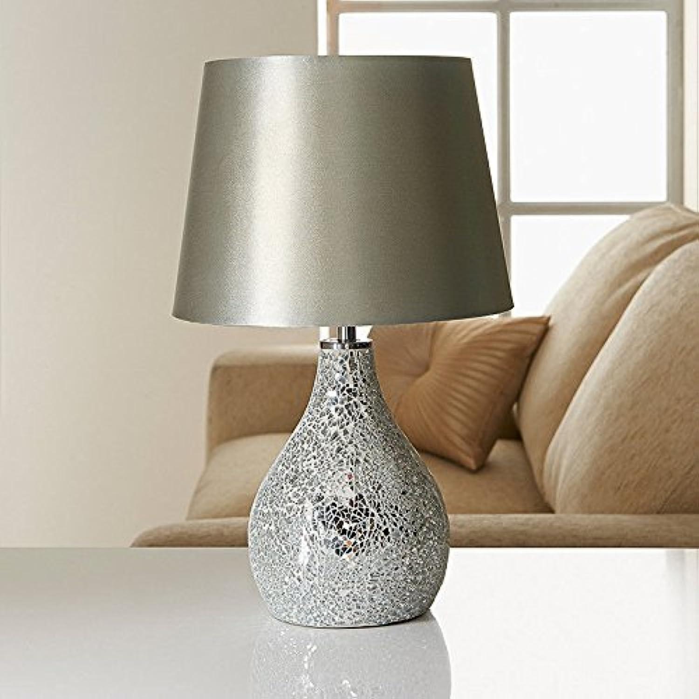 connotación de lujo discreta Nuevo y Elegante diseo de flores, lámpara de mesa–Color mesa–Color mesa–Color plateado de mosaico  Venta al por mayor barato y de alta calidad.