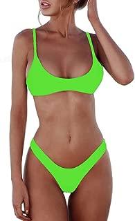 SherryDC Women's Solid Scoop Neck Push up Padded Brazilian Thong Bikini Swimsuit
