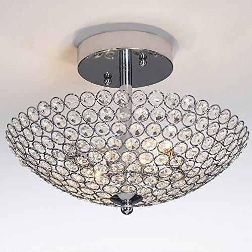 POPILION Elegant 2 Light Bowl Shaped Chrome Finish Metal Crystal Chandelier,Flush Mount Ceiling Light