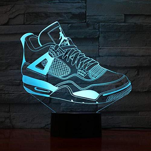 Hombres Jordan Zapatos Luz de noche de baloncesto Led Ilusión 3D Sensor táctil Niños Niños Niños Regalos Lámpara de mesa Dormitorio Zapatillas de deporte Jordan 3 USB ventiladores de baloncesto recarg