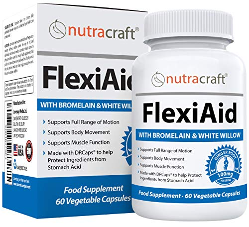 FlexiAid #1 Natural Pain Relief Supplement and Anti Inflammatory Support for Joint, Muscle and Nerves with Bromelain, Ginger, Devils Claw and White Willow Bark - 60 Vegetable Capsules