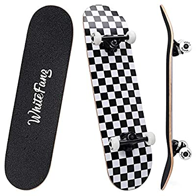 """WhiteFang Skateboards 31"""" Complete Skateboard Double Kick Skate Board 7 Layer Canadian Maple Deck Skateboard for Kids and Beginners from WhiteFang"""