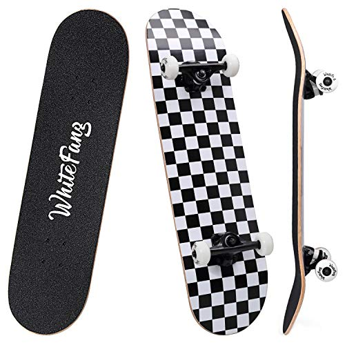 sturdy smooth driving reliable beginners IILOOK Standard full skateboard 31x 8 inch long board for children adults I teenagers