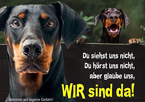 Hundeschild Dobermann Pinscher - stabiles Schild aus 1,5 mm Metallplatte - bis DIN A3 bestallbar, DIN A4