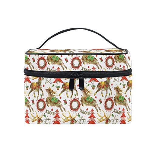 HaJie Large Capacity Makeup Bag Organiser Xmas Tree Deer Star Pattern Travel Portable Cosmetic Case Toiletry Storage Bag Wash Bag for Women Girls