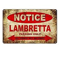 ランブレッタモーターサイクル専用駐車場 金属板ブリキ看板警告サイン注意サイン表示パネル情報サイン金属安全サイン