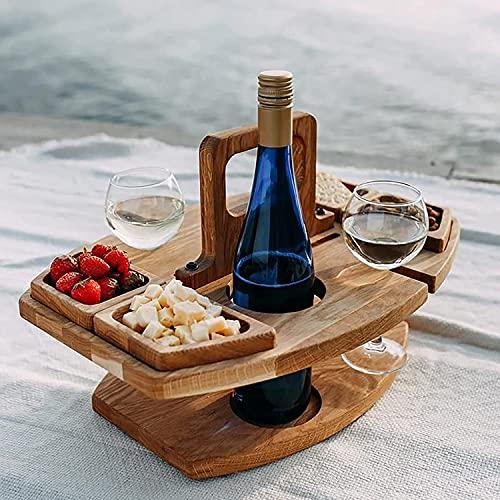 Mesa de Vino Portátil al Aire Libre, Plegable de Madera con Soporte para Copas de Vino, Mini Mesa de Picnic, Mesa de Vino al Aire Libre, Mesa de Aperitivos, Mesa de Picnic Portátil al Aire Libre